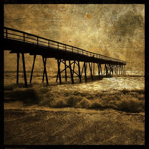 Ocean,Pier,No.,3,-,8,in,x,Altered,Photograph,Art,Photography,Digital,surreal,pier,ocean,sea,brown,texture,altered,paper,ink