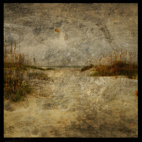 Masonboro,Island,No.,10,-,8,in,x,Altered,Photograph,Art,Photography,Nature,surreal,digital,brown,texture,moody,ocean,dune,sea,beach,dreamy,paper,ink