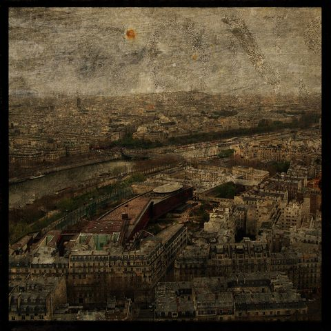 Paris,Skyline,No.,1,8,in,x,Altered,Photograph,Art,Photography,Digital,surreal,texture,paris,france,la_seine,seine,europe,paper,ink