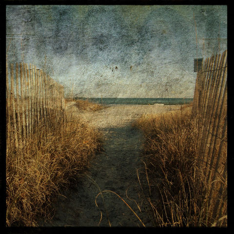 Public,Access,-,8,in,x,Altered,Photograph,Art,Photography,Nature,surreal,digital,brown,texture,moody,sand_fence,ocean,beach,wrightsville,paper,ink