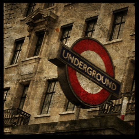 Photography,London,-,Underground,8,in,x,Altered,Photograph,Art,Surreal,digital,brown,texture,moody,england,british,underground,tube,sign,red,Photography_London,paper,ink