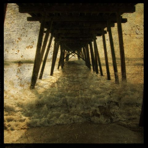 Pier,Break,-,8,in,x,Altered,Photograph,Art,Photography,Surreal,digital,pier,ocean,texture,altered,brown,paper,ink