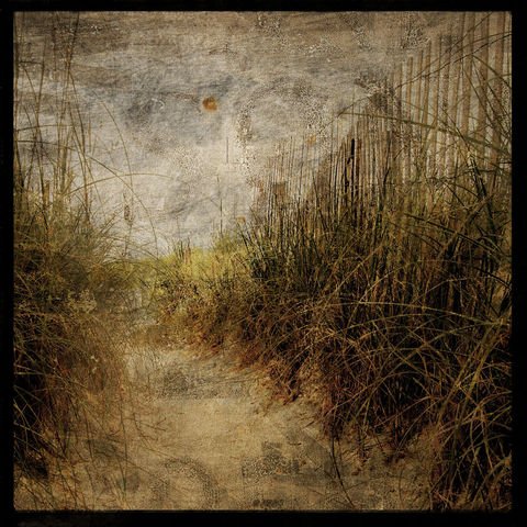 Access,Fence,-,8,in,x,Altered,Photograph,Art,Photography,Surreal,digital,brown,texture,moody,sea,dune,blue,altered,ocean,beach_art,paper,ink