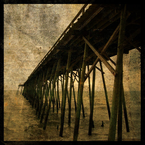 Ocean,Pier,No.,1,-,8,in,x,Altered,Photograph,Art,Photography,Digital,surreal,ocean,peir,coastal,texture,altered,brown,paper,ink