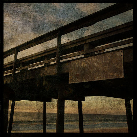 Rentals,-,8,in,x,Altered,Photograph,Art,Photography,Surreal,digital,brown,texture,moody,island,ocean,seaside,sand,beach,pier,paper,ink