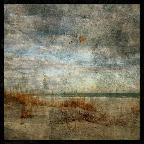 Masonboro,Island,No.,4,-,8,in,x,Altered,Photograph,Art,Photography,Nature,surreal,digital,texture,moody,sea,ocean,clouds,sand_dunes,gold,blue,paper,ink