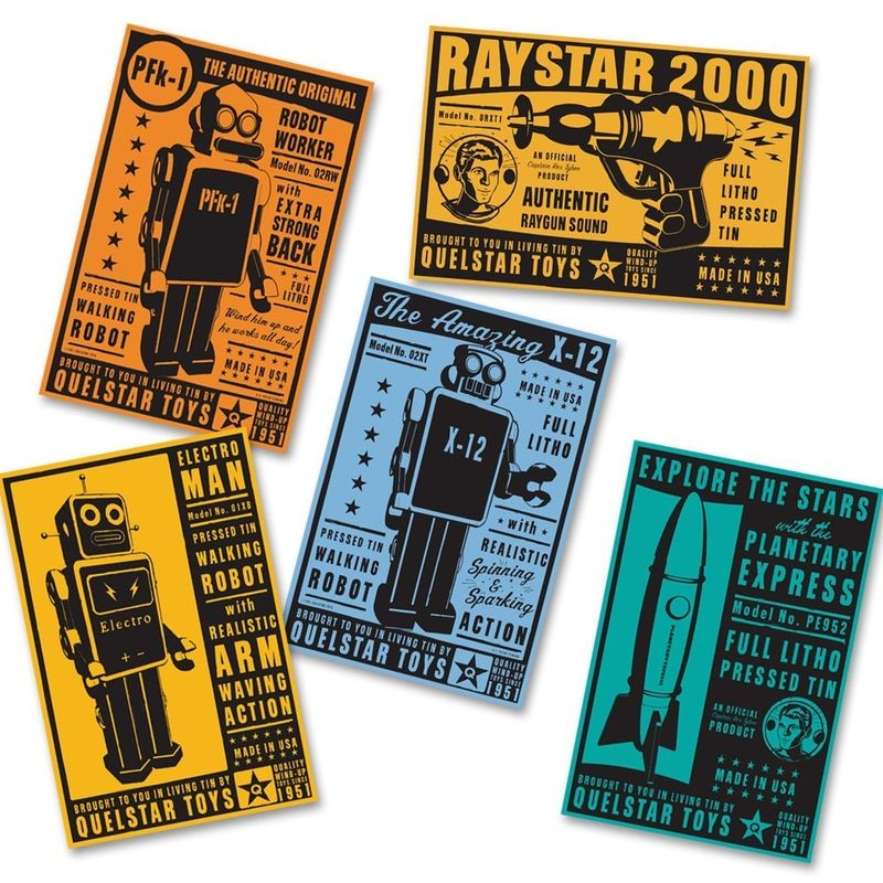Space Age Art - Quelstar Tin Toy Box Art Series - 13 Prints -  4 in x 6 in - product images  of