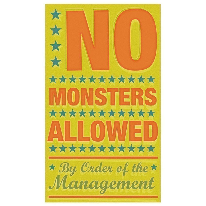 Childrens Art - No Monsters Allowed Print 6 in x 10 in - product images  of