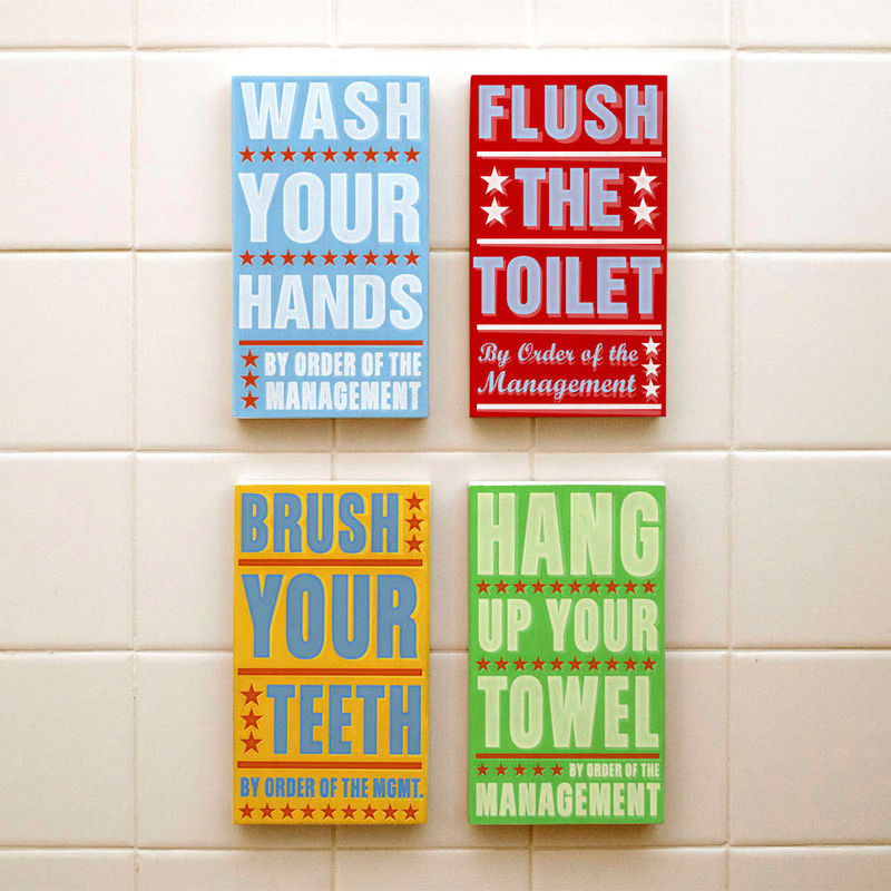 Kids Room Art - Bathroom Set By Order of the Management Word Art Blocks - Set of 4 - 4 in x 7 in - product images  of