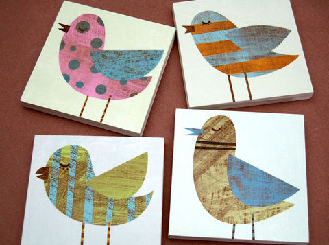 Bird,Artwork,-,Collage,Art,Blocks,Set,of,Four,6,in,x,Illustration,Digital,reproduction,digital,bird,collage,block,small,blue,green,pink,polka_dot,pastel_decor,bird_decor,bird_artwork,paper,wood,ink,sealer