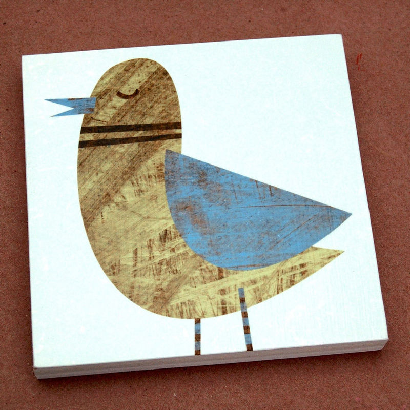 Bird Artwork - Collage Bird Art Blocks - Set of Four - 6 in x 6 in - product images  of