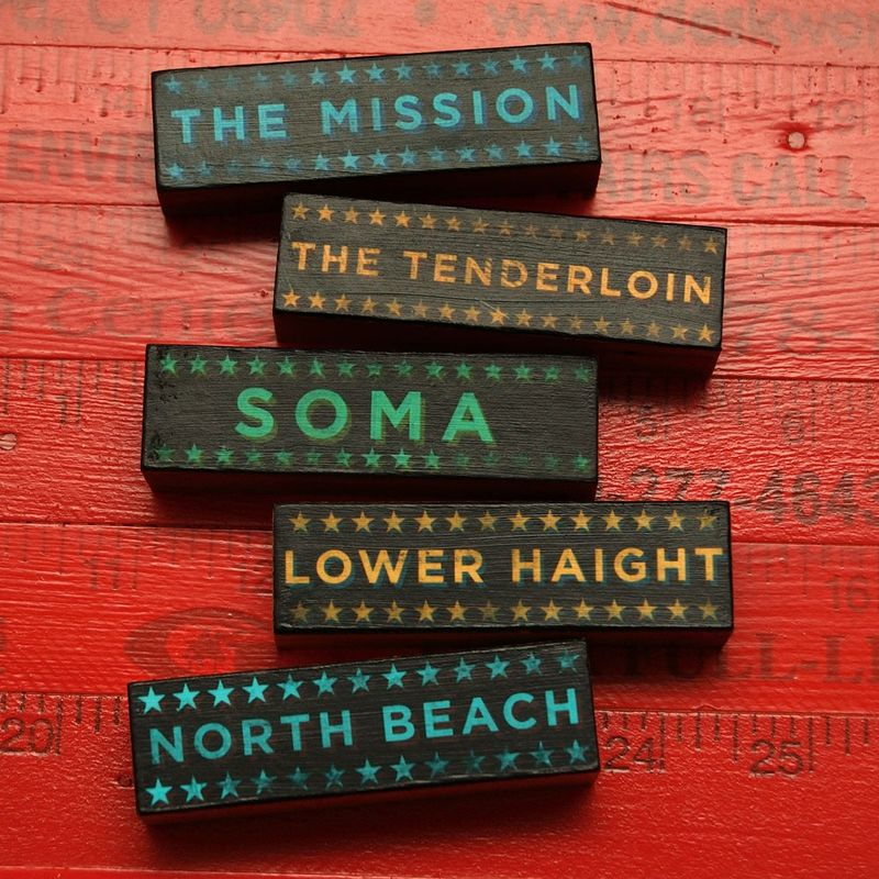 San Francisco Art - Hoods on Wood - Five Art Block Set - Pick the Hoods - product images  of