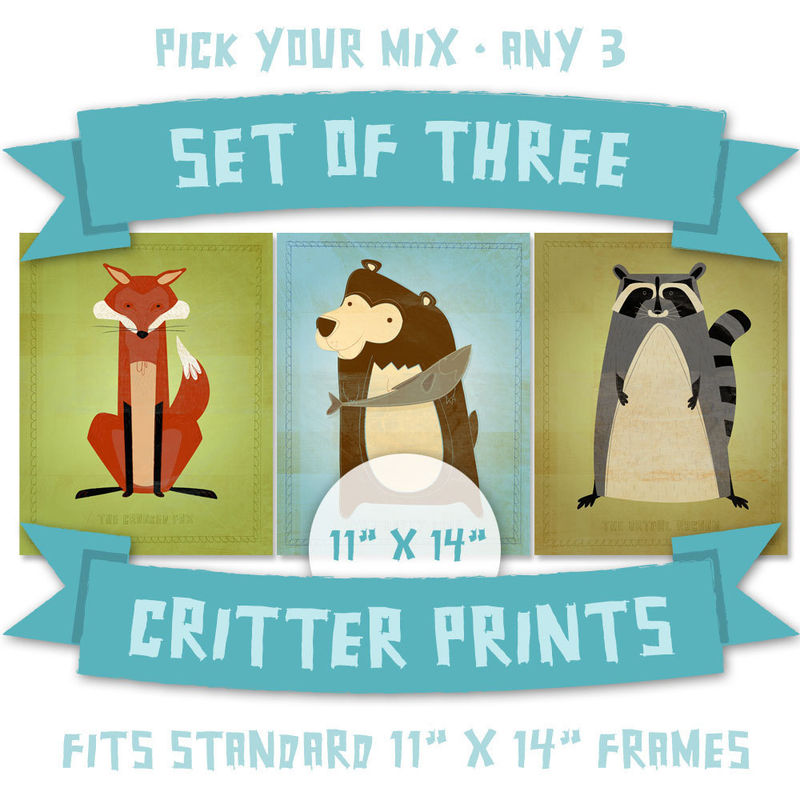 Nursery Prints - Woodland Critters Series Set of 3 Illustrations 11 in x 14 in - product images  of
