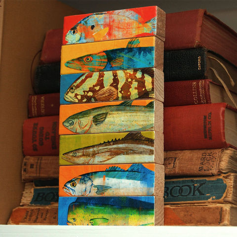 Fish,Art,-,Sticks,Saltwater,Block,Set,of,7,Illustration,Digital,wood,block,dad,fathers_day_gift,saltwater,fisherman,fishing,mackerel,marlin,mahi_mahi,fish_art,paper,ink,glue,sealer