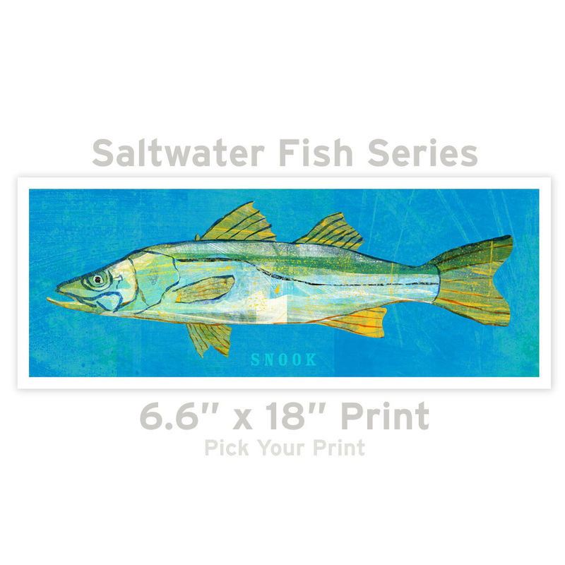 Fish Artwork - The Big One Fish Art Print - Pick Your Print 6.6 in x 18 in Saltwater Fish Art - product images  of