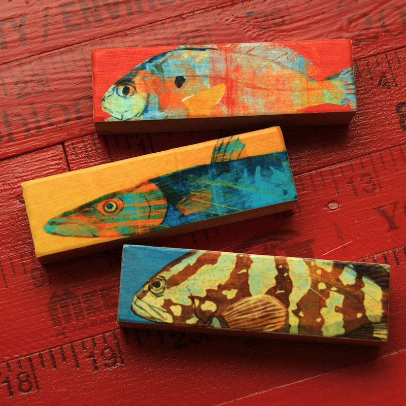 Small Art Fish Prints - Fish Sticks - Saltwater Fish Art Block Set of 3 - product images  of