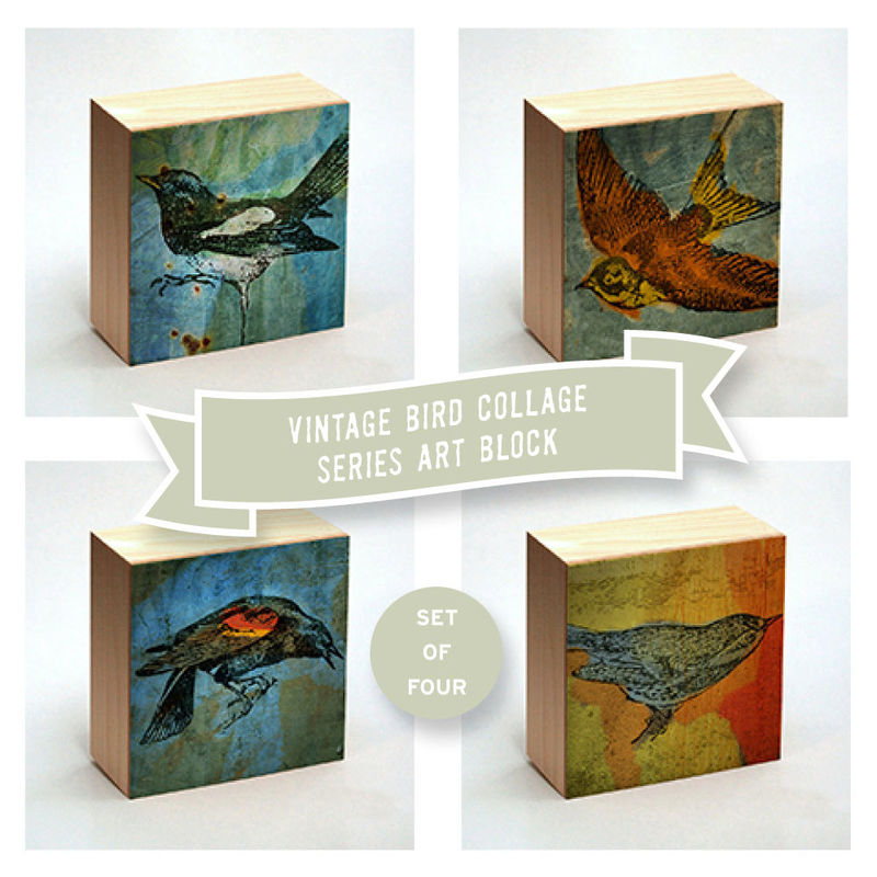 Vintage Bird Print Collage Art Box - Set of Four - Pick your Mix - 4 in x 4 in - product images  of