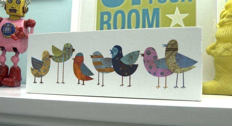 Flock No. 1 Art Block - 4 in x 11 in - Bird Art - product images  of