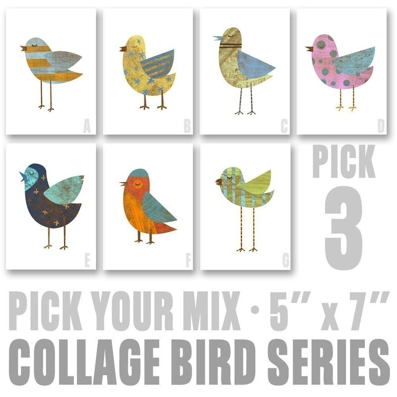 Bird Art - Collage Bird Series - Pick Your Mix - Set of 3 Illustrations 5 in x 7 in - product images  of