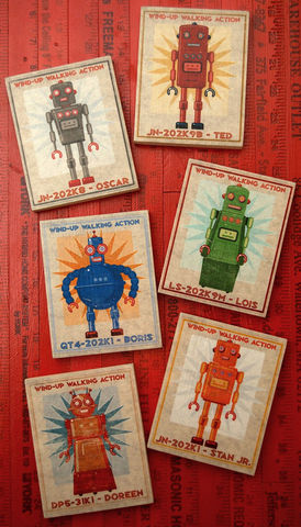 FREE,SHIPPING,Retro,Robot,Art,-,Series,Block,Set,of,6,8,in,x,10,Illustration,Digital,john_w_golden,illustration,digital,print,block,sci_fi,science_fiction,set,Retro_robot_art,paper,computer,wood,sealer