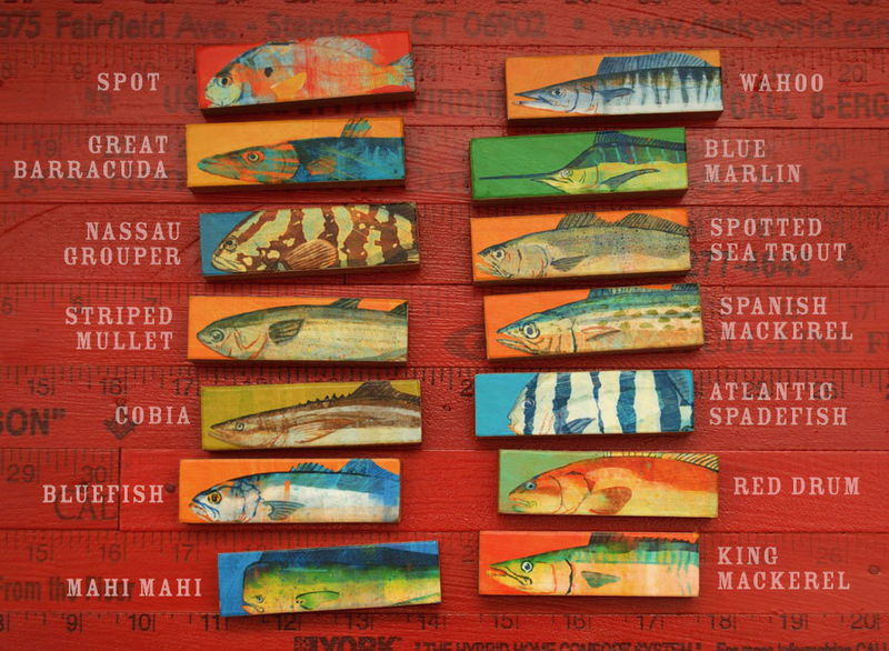 Whole Mess of Fish Sticks - Saltwater Fish Art Block Set of 14 Gifts for Fisherman - product images  of