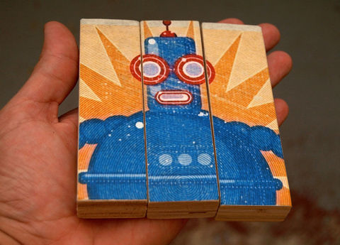 Retro,Robot,Boris,Medium,Art,Block,Triptych,-,Toy,Robots,Illustration,wood,block,triptych,Retro_Robot,toy_robots,paper,ink,glue,sealer