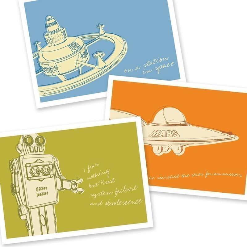 Space Age Art - Lunastrella Robot, Space Station and Flying Saucer 5 in x 7 in - Set of Three - product images  of