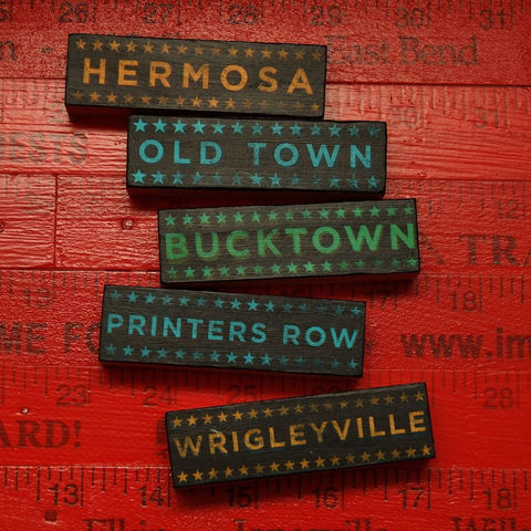 Chicago,Art,-,Hoods,on,Wood,Five,Block,Set,Pick,the,City,Illustration,Digital,wood,block,black,gift,old_town,hermosa,printers_row,wrigleyville,bucktown,neighborhood,chicago_art,city_art,paper,ink,glue,sealer
