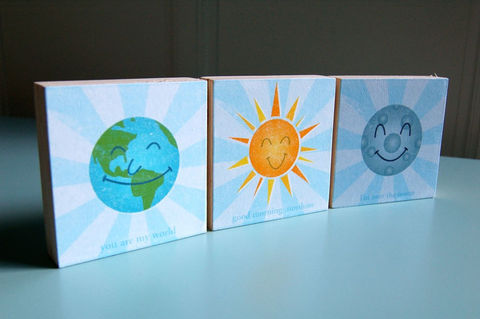 Happy,Planets,-,World,,Sunshine,and,Moon,Art,Blocks,Set,of,3,in,x,Children,illustration,digital,reproduction,block,earth,world,sun,sunshine,moon,yellow,blue,art,paper,ink,wood