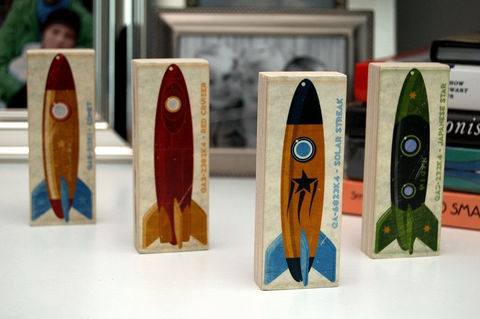 Rocket,Art,Series,set,of,four,Mini,Blocks,Illustration,wood,block,reproduction,print,rocket,space,space_art,rocket_art,Tin_toy,paper,ink,glue,sealer