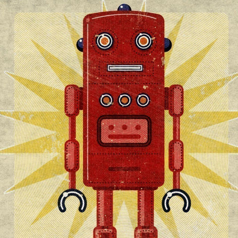 Robot,Art,Print,-,Ted,Box,8,in,x,10,Illustration,digital,john_w_golden,science_fiction,gift,geekery,robot_art,red,space_toys,tin_toy,paper,computer