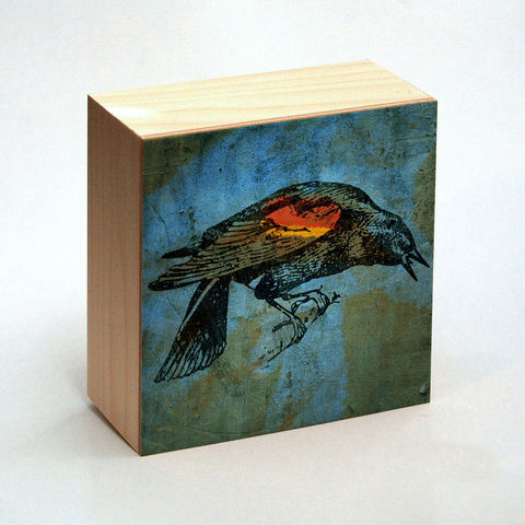 Redwinged,Blackbird,Art,Print,No.,2,Box,-,4,in,x,Pick,the,Vintage,illustration,inspired,art,Illustration,Digital,wood,reproduction,mounted,cradled_board,box,vintage_illustration,Redwinged_Blackbird,paper,ink,glue,sealer