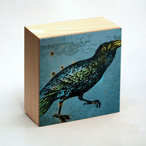 Raven,Art,Print,No.,2,Box,-,4,in,x,Pick,the,Vintage,illustration,inspired,art,Illustration,Digital,wood,reproduction,mounted,cradled_board,box,vintage_illustration,raven_art_print,paper,ink,glue,sealer