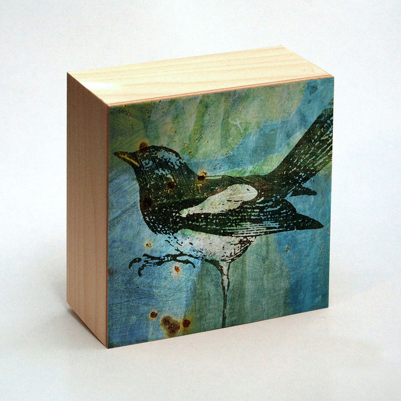 Magpie Art Print Box - 4 in x 4 in - Pick the Print - Vintage illustration inspired art Dictionary Art Print - product images  of
