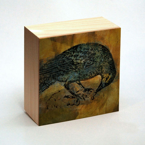 Raven,Art,Print,Box,-,4,in,x,Pick,the,Vintage,illustration,inspired,art,Illustration,Digital,wood,reproduction,mounted,cradled_board,box,vintage_illustration,raven_art_print,paper,ink,glue,sealer