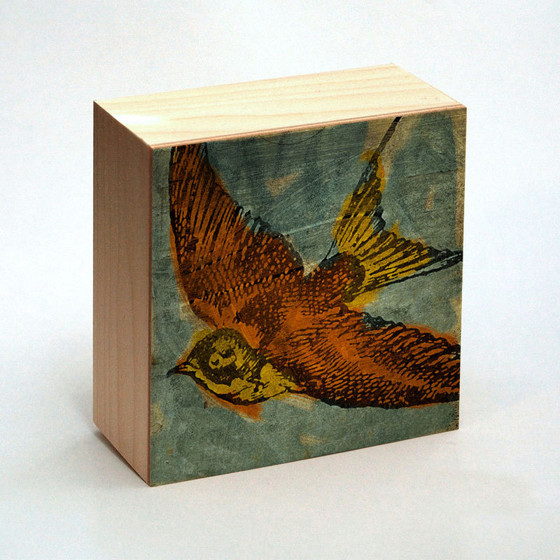 Swallow Art Print Box - 4 in x 4 in - Pick the Print - Vintage illustration inspired retro art - product images  of