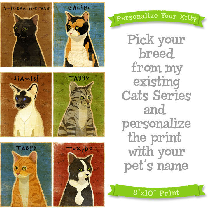 Cat Art Print - Personalize Your Kitty - 8 in x 10 in - Not Portrait - product images  of