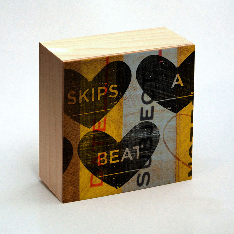 Heart Artwork - Skips A Beat Art Box - 4 in x 4 in Girlfriend Gift - product images  of