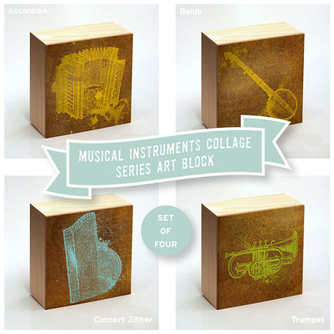 Vintage,Music,Instrument,Print,Collage,Art,Box,-,Set,of,Four,Pick,your,Mix,4,in,x,Illustration,Digital,reproduction,wood,block,vintage_dictionary,art_box,collage,vintage_music,instrument_print,paper,ink,glue,sealer