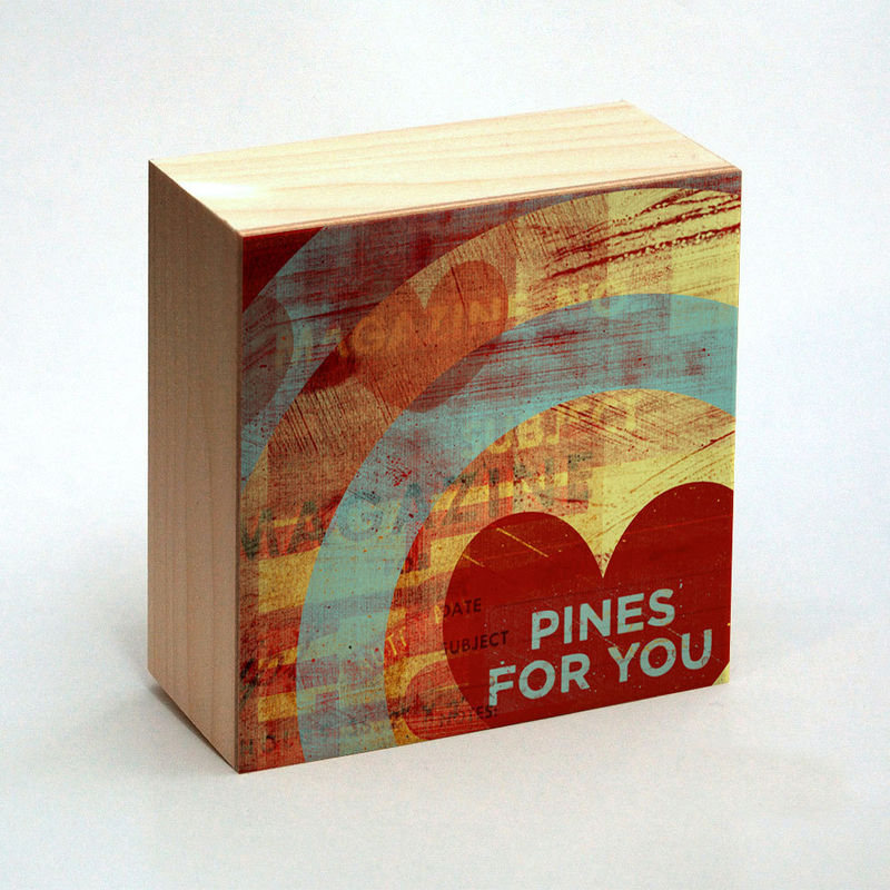 Heart Art - Pines for You Art Box - 4 in x 4 in - Great Boyfriend Gift - product images  of