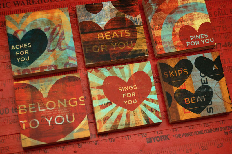 Valentine Gift - Heart Collage Series Art Blocks - Set of 6 - 4 in x 4 in - product images  of