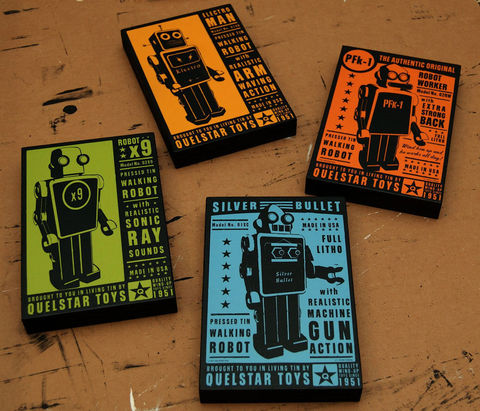 Retro,Robot,-,Quelstar,Art,Blocks,Set,of,Four,4,in,x,6,Illustration,Digital,john_w_golden,illustration,digital,print,block,tin_toy,space,sci_fi,Retro_robot,paper,computer,wood,sealer