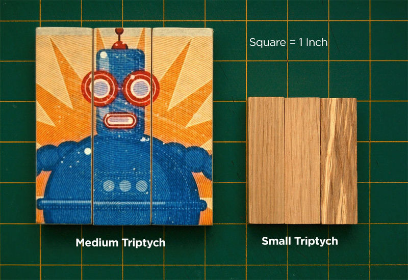 Toy Robot Art - Oscar Medium Art Block Triptych - product images  of