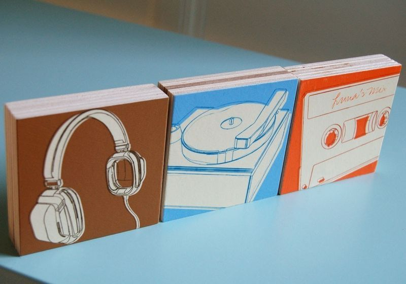 Music Art - Lunastrella Art Block Set - 3 in x 3 in - Headphones, Cassette and Phono - product images  of