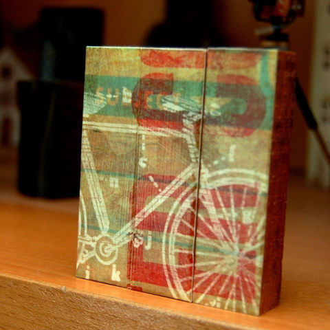 Cycles,per,Second,-,Mini,Triptych,Art,Illustration,wood,block,red,yellow,cycle,bike,wheel,bicycle,bicycle_decor,paper,ink,glue,sealer