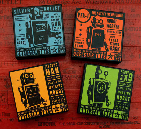Retro,Robot,Art,-,Quelstar,Tin,Toy,Series,4,in,x,Box,Set,of,Four,Robots,Illustration,Digital,wood,reproduction,print,mounted,art_box,wall_decor,rovinato_series,photographs,swimming_pool_art,paper,ink,glue,sealer