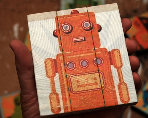 Retro,Robot,Stan,Jr.,Medium,Art,Block,Triptych,Illustration,wood,block,triptych,Retro_Robot,paper,ink,glue,sealer
