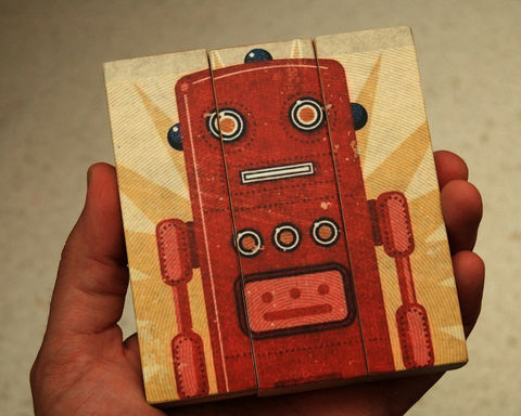 Retro,Robot,Art,Ted,Medium,Block,Triptych,Illustration,wood,block,triptych,Retro_Robot_Art,paper,ink,glue,sealer