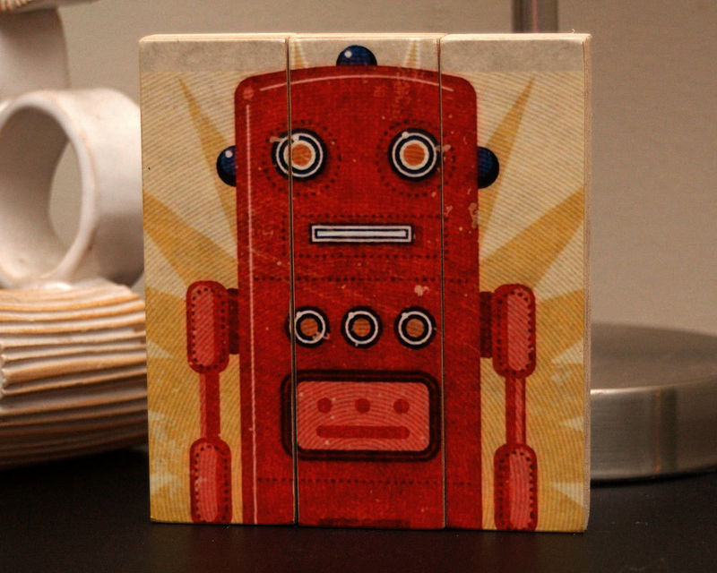 Retro Robot Art Ted Medium Art Block Triptych - product images  of