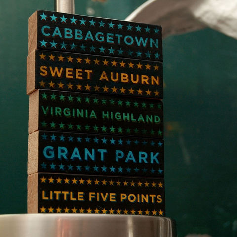 Atlanta,Art,-,Hoods,on,Wood,Five,Block,Set,Pick,the,Illustration,wood,block,black,gift,neighborhood,grant_park,cabbagetown,little_five_points,georgia,sweet_auburn,virginia_highland,atlanta_art,paper,ink,glue,sealer